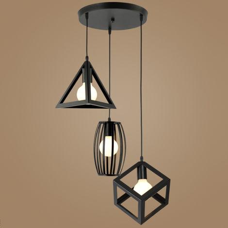 Rétro Lustre Suspension Industrielle E27 3 Lampes Plafonnier Luminaire Noir