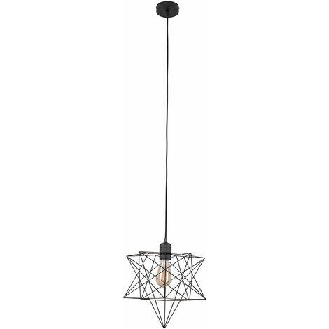 Minisun Matt Black Ceiling Pendant Light + Geometric Star Shade - 4W LED Filament Bulb Warm White