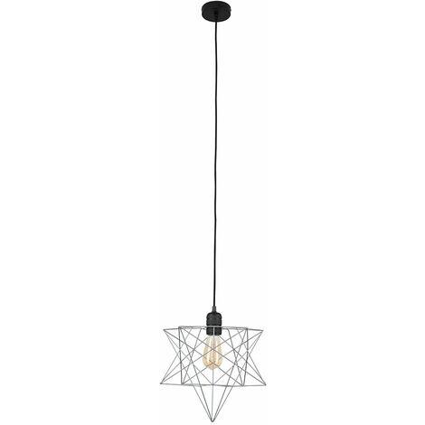 Minisun Matt Black Ceiling Pendant Light + Grey Geometric Star Shade