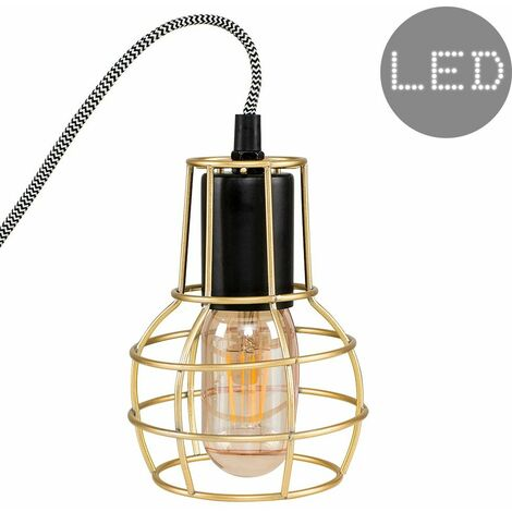Retro Metal Basket Cage Bedside Table Lamp + 4w LED Filament Amber Tinted Light Bulb