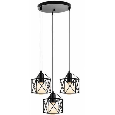 Retro Metal Chandelier Black 3 Heads Square Cage Pendant Light Industrial Ceiling Light for Bedroom Cafe Bar