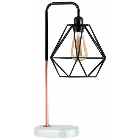 Metal & Marble Table Lamp + Metal Basket Cage Shade - Black