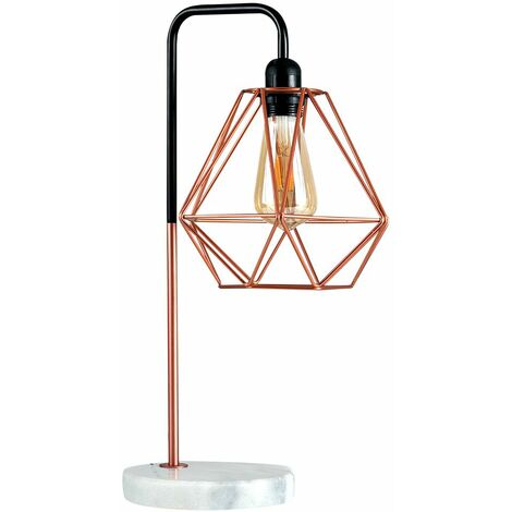 Metal & Marble Table Lamp + Metal Basket Cage Shade - Copper