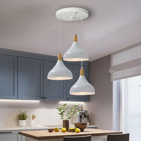 Retro Modern Ceiling Light Metal Lampshade Vintage Pendant Lamp Industrial Pendant Light 3 Lamp Holders for Cafe Kitchen Bar Hotel Dining Room-White