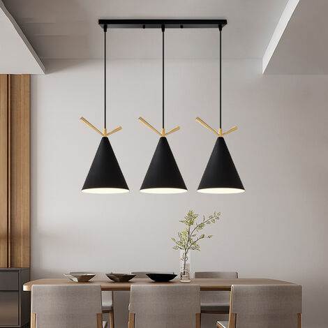 Retro Modern Pendant Light Black Industrial Design Ceiling Lamp 3 Lights E27 Base Metal Lampshade Ac 100-240V