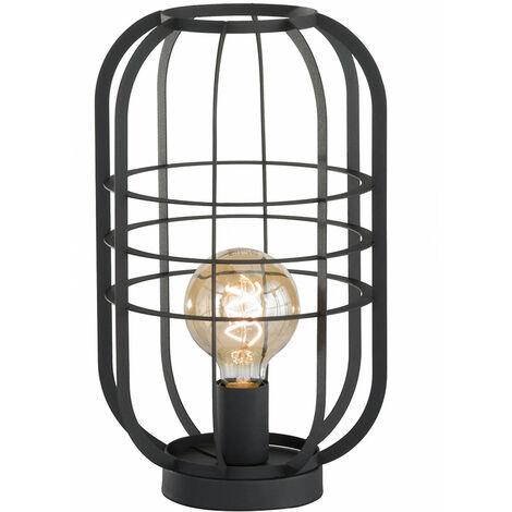 Retro Nacht Schreib Tisch Lampe schwarz-matt Käfig Beistell Leuchte Wohn Zimmer Beleuchtung Fischer Leuchten 50212