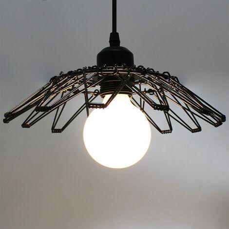 Retro Pendant Lamp Creative Deformable Pendant Light Metal Cage Hanging Light Black Vintage Industrial Ceiling Light E27 Socket