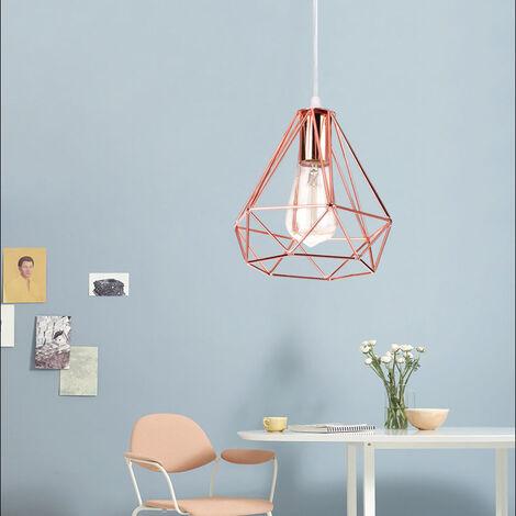Retro Pendant Light 20cm Modern Ceiling Lamp Contemporary Chandelier Diamond Hanging Light Rose Gold Metal Iron Lamp Shade