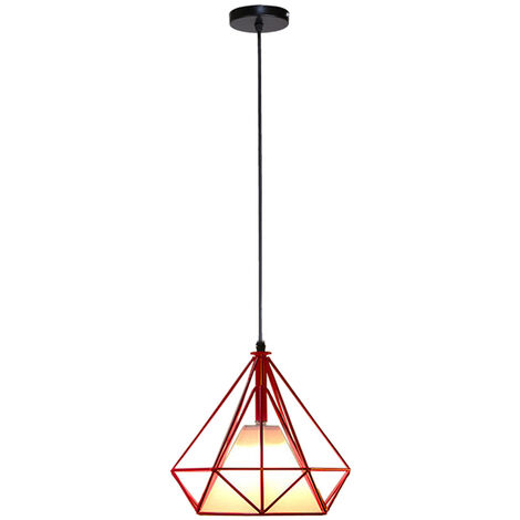 Retro Pendant Light 25cm Diamond Cage Ceiling Light Vintage Hanging Light Red Industrial Chandelier Metal Iron Pendant Lamp E27