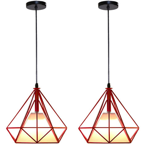 Retro Pendant Light 25cm Diamond Cage Ceiling Light Vintage Hanging Light Red Industrial Chandelier Metal Iron Pendant Lamp E27(2 Pack)