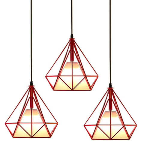 Retro Pendant Light 25cm Diamond Cage Ceiling Light Vintage Hanging Light Red Industrial Chandelier Metal Iron Pendant Lamp E27(3 Pack)