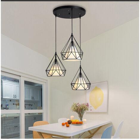 Retro Pendant Light 3 Lamp Holders Chandelier,Vintage Hanging Light Metal Iron Pendant Lamp Diamond Cage Ceiling Lamp 25CM Black