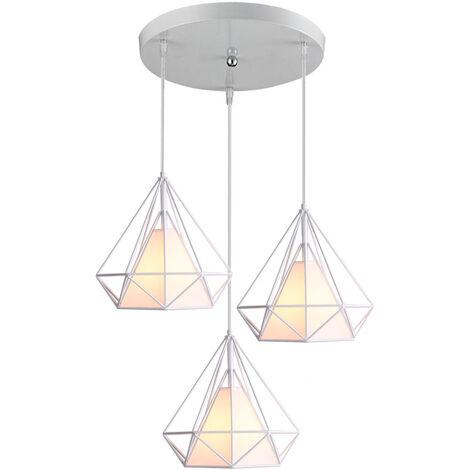 Retro Pendant Light 3 Lamp Holders Chandelier,Vintage Hanging Light Metal Iron Pendant Lamp Diamond Cage Ceiling Lamp 25CM White