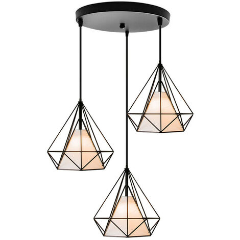 Retro Pendant Light 3 Lamp Holders Chandelier,Vintage Hanging Light Metal Iron Pendant Lamp Diamond Cage Ceiling Light 25cm Black
