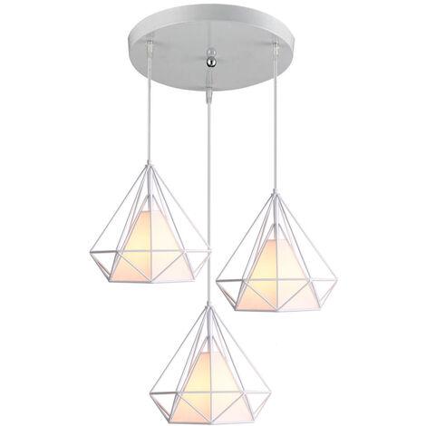 Retro Pendant Light 3 Lamp Holders Chandelier,Vintage Hanging Light Metal Iron Pendant Lamp Diamond Cage Ceiling Light 25cm White