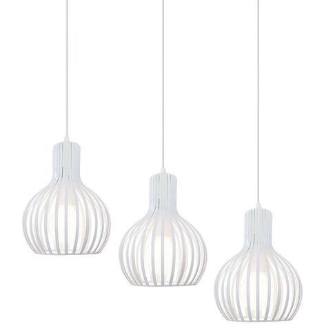 Retro Pendant Light 3 Lamp Holders Height Adjustable Hanging Light Antique Chandelier White Industrial Ceiling Lamp E27 Creative Pendant Lamp