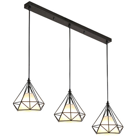 Retro Pendant Light 3 Lamp Holders Industrial Hanging Light 20CM Diamond Cage Pendant Lamp Vintage Ceiling Lamp E27 Metal Chandelier Black