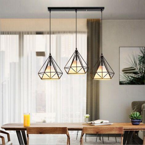 Retro Pendant Light 3 Lamp Holders Industrial Hanging Light 20CM Diamond Cage Pendant Lamp Vintage Pendant Lamp E27 Metal Chandelier Black