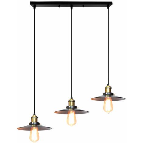 Retro Pendant Light 3 Lights Pendant Lamp Ø22cm Metal Iron Lamp Shade Industrial Hanging Light Antique Chandelier Vintage Ceiling Lamp for Cafe Bar Office Black