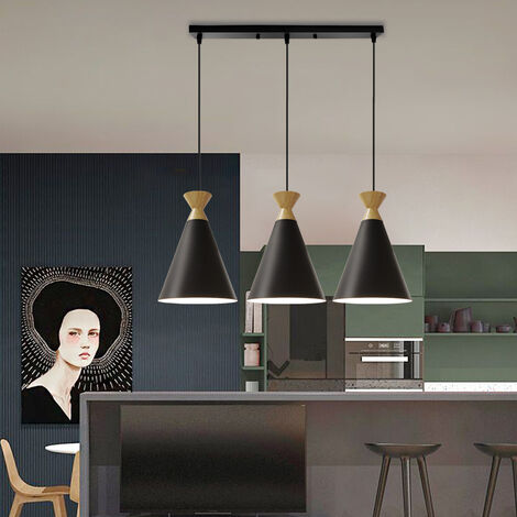Retro Pendant Light 3 Lights Vintage Pendant Lamp Nordic Hanging Lamp Minimalist Style Pendant Light Antique Ceiling Lamp Black
