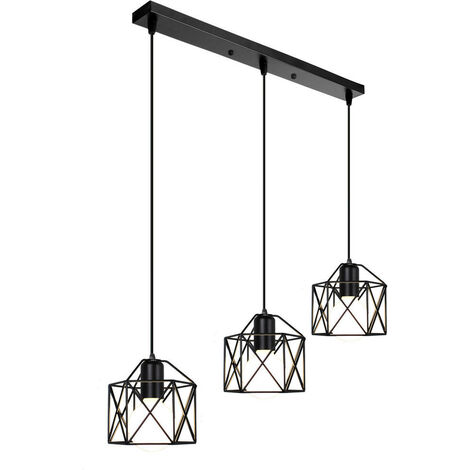 Retro Pendant Light Black Industrial Vintage Chandelier Metal Cage Iron Ceiling Light E27 for Restaurant Living Room E27