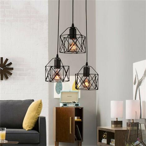 Retro Pendant Light Black Vintage Industrial Chandelier Metal Cage Iron Ceiling Light E27 Antique Creative Cube Hanging Light