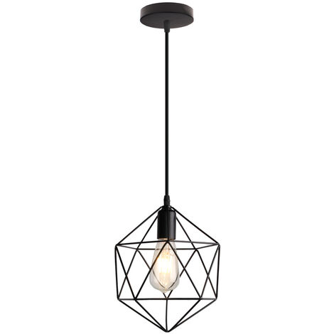 "main image of ""Retro pendant light industrial style iron cage bedroom restaurant kitchen lighting decoration lamp, Black - Black"""
