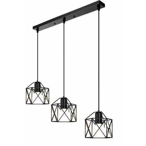 Retro Pendant Light Industrial Vintage Chandelier Iron Metal Cage Ceiling Light E27 Black for Restaurant Living Room E27