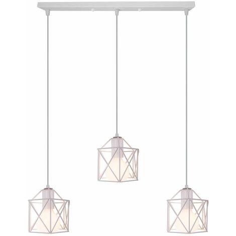 Retro Pendant Light Industrial Vintage Chandelier Iron Metal Cage Ceiling Light E27 White for Restaurant Living Room E27