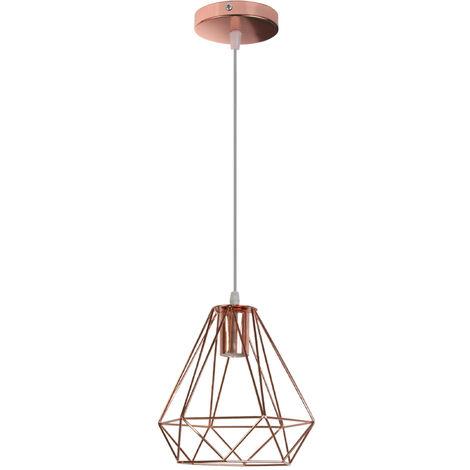 Retro Pendant Light Modern Ceiling Lamp Rose Gold Contemporary Chandelier Diamond 200MM Hanging Light Metal Iron Lamp Shade