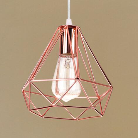 Retro Pendant Light Modern Ceiling Lamp Rose Gold Contemporary Chandelier Diamond Ø20cm Hanging Light Metal Iron Lamp Shade