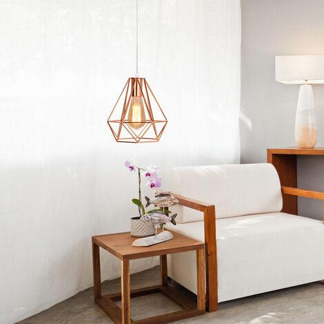 Retro Pendant Light Modern Ceiling Lamp Rose Gold Contemporary Chandelier Diamond 20cm Hanging Light Metal Iron Lamp Shade