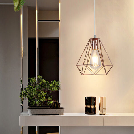 Retro Pendant Light Modern Ceiling Lamp Rose Gold Contemporary Classic Chandelier Diamond 20cm Hanging Light Metal Iron Lamp Shade