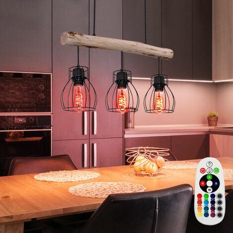 Retro Pendel Decken Leuchte Holz Balken FERNBEDIENUNG Lampe dimmbar im Set inkl. RGB LED Leuchtmittel