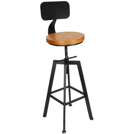 Rétro petit déjeuner siège Tabouret de bar vintage métal solide bois costume cuisine comptoir de pub Hasaki