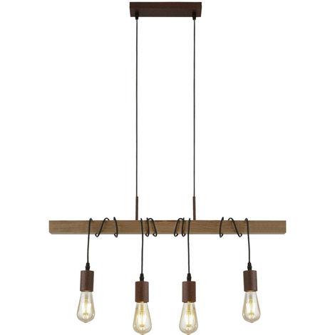 Rétro plafond suspension lampe poutres en bois pendentif lumière salon éclairage projecteur 4874 -4BR