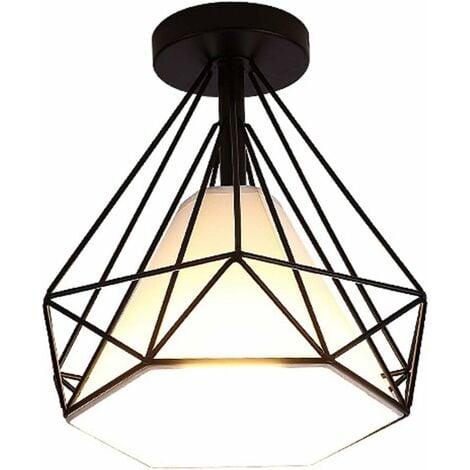 Retro Plafonnier Industrielle Cage en forme Diamant en Métal Fer Lustre Suspension Luminaire pour Salon Salle Chambre Décorer Maison Cuisine Noir
