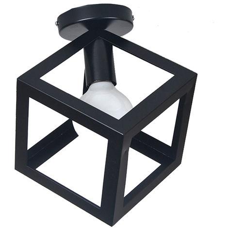 Rétro Plafonnier Industrielle E27 40W Ø16cm Lustre Abat-jour Cage Métal Noir