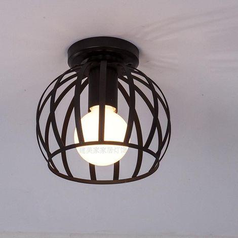 Rétro Plafonnier Vintage Industrielle Style Design Eclairage de plafond loft en Noir Cage en Fer Intérieure pour Décoration Café Restaurant Cuisine