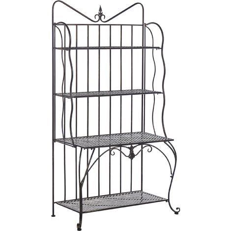 Retro Plant Shelf Metal Outdoor Garden Freestanding 4 Shelves Black Pavona