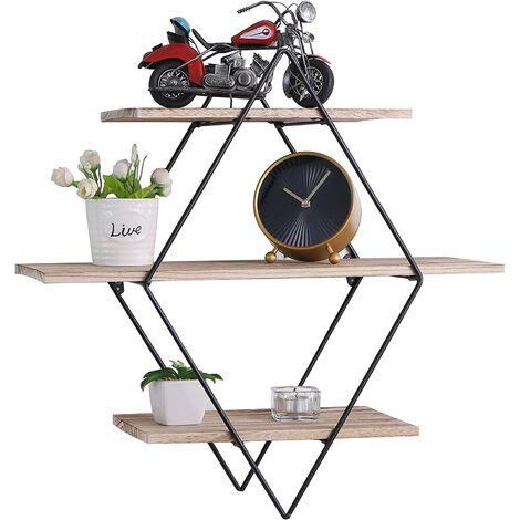 Retro Rectangle Wall Shelf in Metal Wood - 3 Levels - Industrial Style - 50x50x19 cm - Storage Storage Organizer LAVENTE