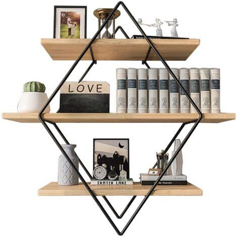 Retro Rectangular Metal Wood Wall Shelf-3 Levels-Industrial Style-50X50X19 Cm-Organizer Storage