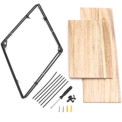 Retro Rectangular Metal Wood Wall Shelf-3 Levels-Industrial Style-50X50X19 Cm-Organizer Storage Hasaki