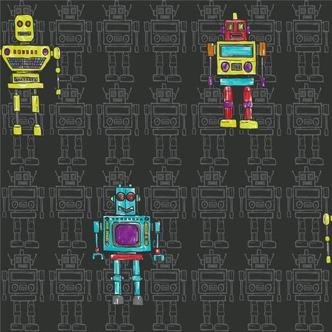 Retro Robot Black Wallpaper Kids Opera Fun Arthouse