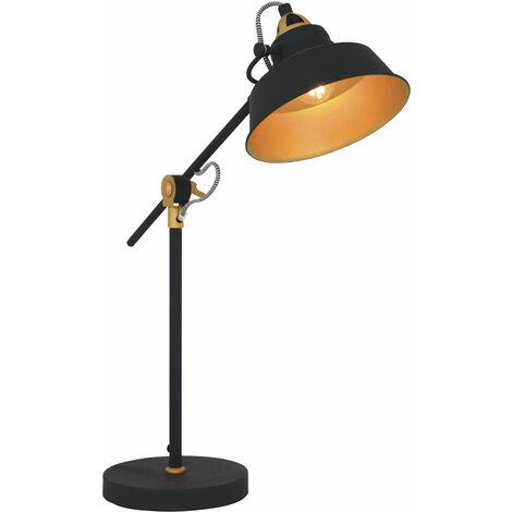 Retro Schreib Nacht Tisch Lampe SCHWARZ GOLD Wohn Schlaf Zimmer Beleuchtung Lese Leuchte verstellbar