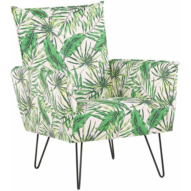 Sessel Grün / Weiß Polsterbezug Kiefernholz Sperrholz mit Blattmuster mit Armlehnen schwarze Füße Wohnzimmer Schlafzimmer Retro Stil