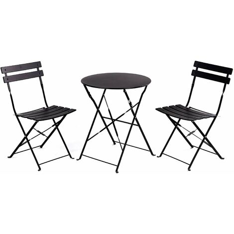 Retro Set 2 chairs + Folding Space Saving Folding Table for Garden, Balcony, Terrace - Rustproof Steel Outdoor Furniture Set. Black colour.