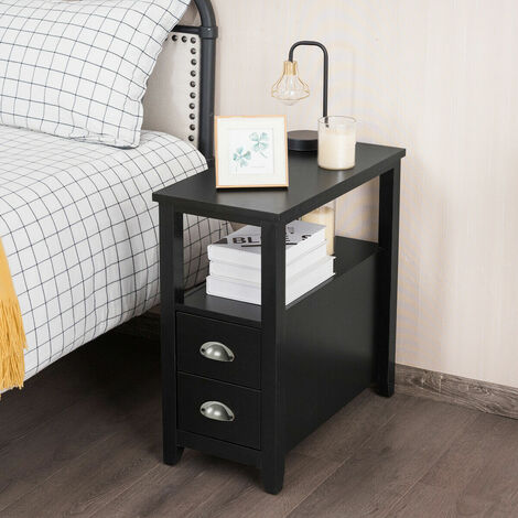 Retro Side Table Beside Sofa Nightstand End Lamp Table Shelf 2 Drawers Stroage