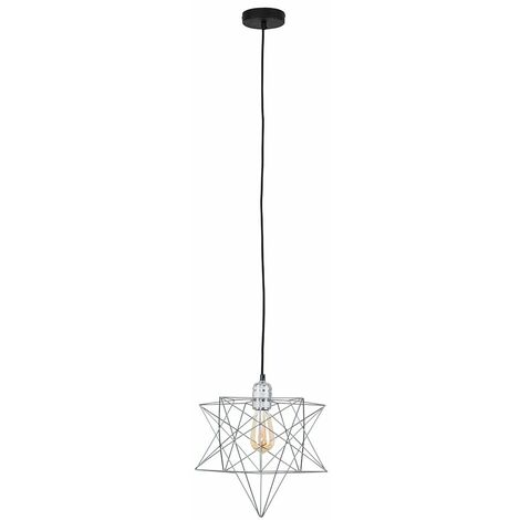 Chrome Ceiling Pendant Light + Grey Geometric Star Shade - 4W LED Filament Bulb Warm White