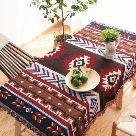 Retro Sofa Table Chair Cushion Pad Aztec Navajo Rug Throw Towel Hanging Wall Carpet Cotton Classic Mohoo